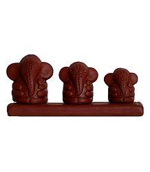 3 Terracotta Ganesha Statue