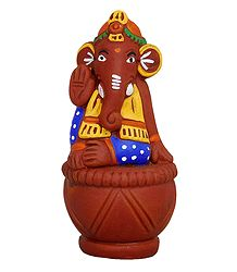 Ganesha Sitting on Tabla - Terracotta Statue