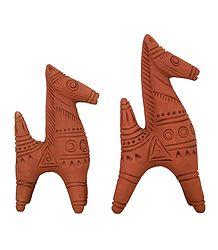 Set of 2 Terracotta Bankura Horses