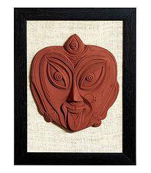 Face of Goddess Kali - Terracotta Wall Hanging