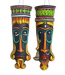 Pair of Decorative Egyptian King Queen Masks - Wall Hanging