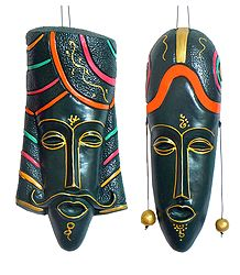Pair of Decorative Indian King Queen Masks - Wall Hanging