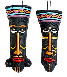 Pair of Decorative King Queen Masks - Wall Hanging