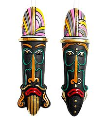Buy Online Pair of Terracotta African Masks
