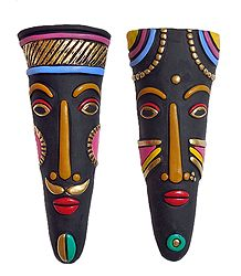 Shop Online Pair of Terracotta Tribal Masks