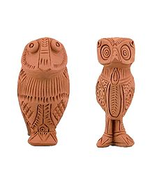 Set of 2 Terracotta Owls