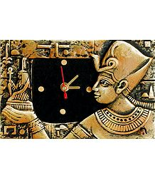 Battery Operated Wall Clock in a Terracotta Plate with Egyptian Figure - Wall Hanging