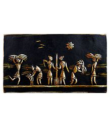 Village Scene - Terracotta Wall Hanging