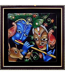 Terracotta Radha Krishna on Wooden Board - Wall Hanging