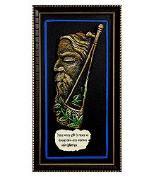 Terracotta Baul Rabindranath on Wooden Board - Wall Hanging