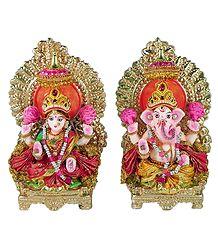 Lakshmi and Ganesha - Terracotta Statue