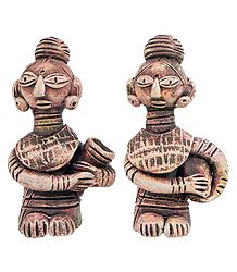 Pair of Terracotta Tribal Women
