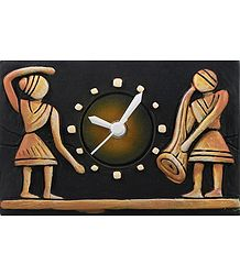 Battery Operated Terracotta Table Clock with Tribal Couple - Wall Hanging