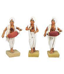 Three Vaishnava Dhol Players