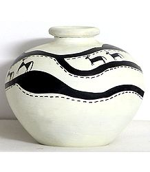 White Flower Pot with Hand Painted Warli Painting