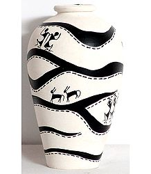 White Flower Vase with Hand Painted Warli Painting