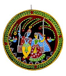 Radha Krishna on a Swing -Tikuli Painting