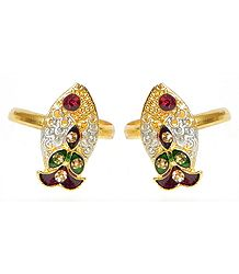 Pair of White Stone Studded Fish Shaped Toe Ring