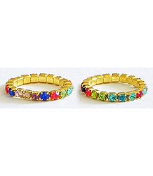 Pair of Multicolor Stone Studded Stretchable Toe Ring