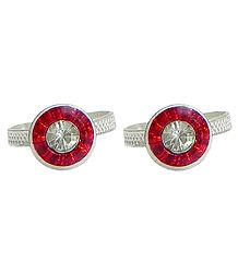 Red and White Stone Studded Round Toe Ring