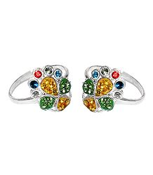 Multicolor Stone Studded Adjustable Toe Ring