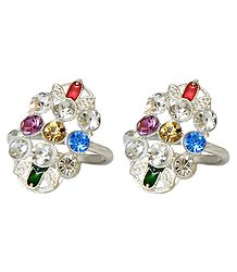 Pair of White and Multicolor Stone Studded Toe Ring