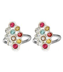 White and Multicolor Stone Studded Toe Ring