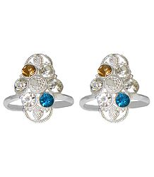 Pair of White, Blue and Yellow Stone Studded Toe Ring