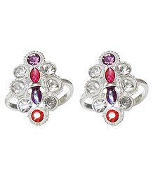 White and Red Stone Studded Diamond Shaped Toe Ring