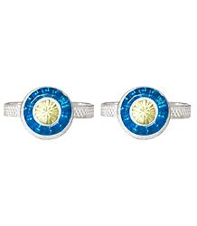 Cyan Blue and Light Yellow Stone Studded Round Toe Ring