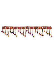 Cloth Door Toran with Cowrie and Beads