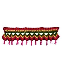 Multicolor Crocheted Woolen Door Toran - (Decorative Door Hanging)