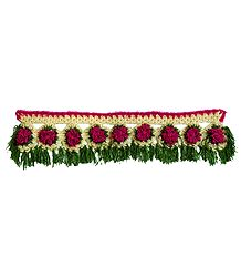 Magenta, Green and Off-white Crocheted Woolen Door Toran - (Decorative Door Hanging)