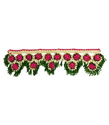 Pink, Green and Off-white Crocheted Woolen Door Toran - (Decorative Door Hanging)