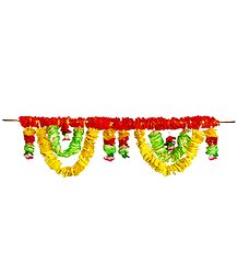 Yellow, Red and Green Flower Door Toran - Decorative Door Hanging