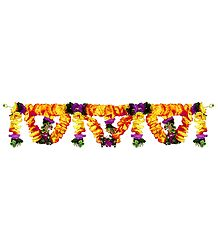 Saffron, Yellow and Purple Flower Door Toran - (Decorative Door Hanging)