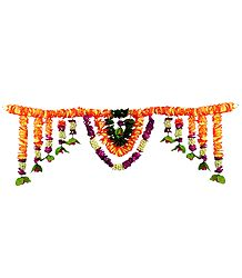 Saffron, Yellow and Purple Flower Door Toran - Decorative Door Hanging