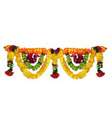 Yellow, Red and Green Cloth Flower Door Toran - Decorative Door Hanging