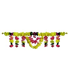 Cloth Flower Door Toran - (Decorative Door Hanging)