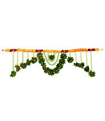 Red, Saffron and Green Cloth Flower Door Toran with Synthetic Jasmine- (Decorative Door Hanging)