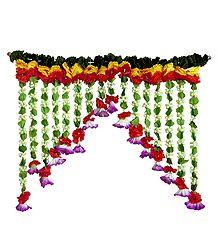 Cloth and Plastic Flower Door Toran