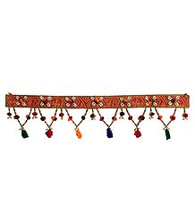 Cloth Door Toran with Cowrie and Beads - Decorative Door Hanging