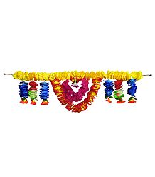 Yellow, Red and Dark Blue Cloth Flower Door Toran - Decorative Door Hanging