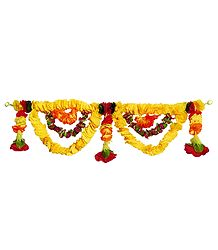 Yellow and Red Cloth Flower Door Toran - Decorative Door Hanging