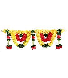 Yellow, Red and Green Cloth Flower Door Toran - (Decorative Door Hanging)