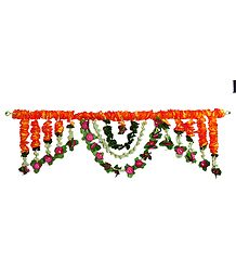 Cloth Flower Door Toran with Synthetic Jasmine - Decorative Door Hanging