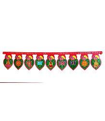Shubh Labh with Deities on Paper Door Toran - Decorative Door Hanging