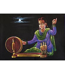 Charkha Weaver - Painting on Velvet Cloth