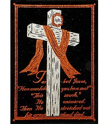 The Holy Cross - (Saffron and Silver Glitter Painting)