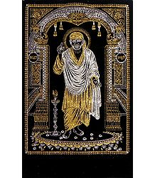 Shirdi Sai Baba - (Silver and Golden Glitter Painting)